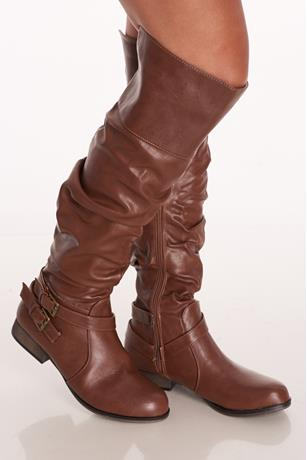Slouchy Buckled Boots COGNAC