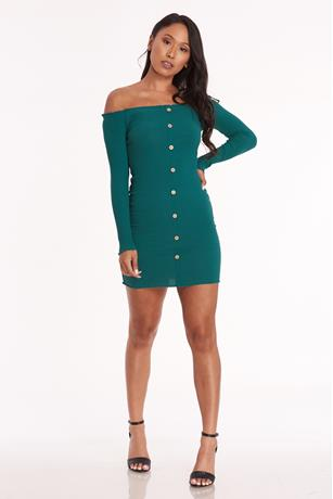 Ribbed Off Shoulder Bodycon Dress HUNTER