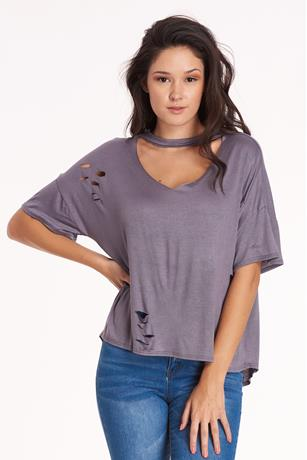 Gray Distress Top