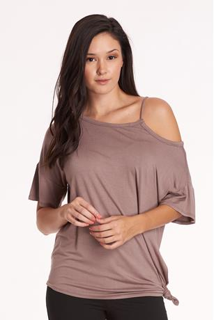 Solid Open Shoulder Top BROWN