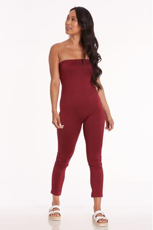 Brushed Tube Catsuit WINE