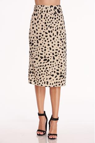 Cheetah Print Satin Skirt TAN