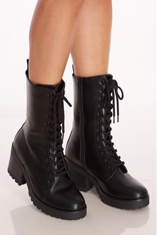 Faux Leather Combat Platform Boots