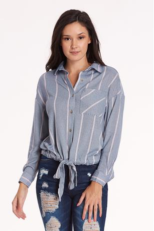 Striped Drawstring Shirt DENIM