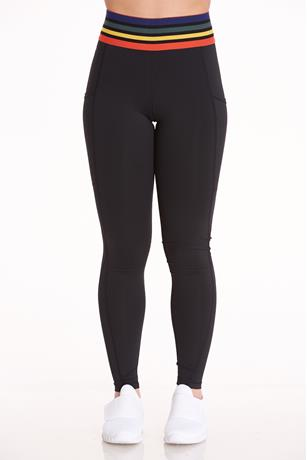 Rainbow Trim Active Leggings BLACK