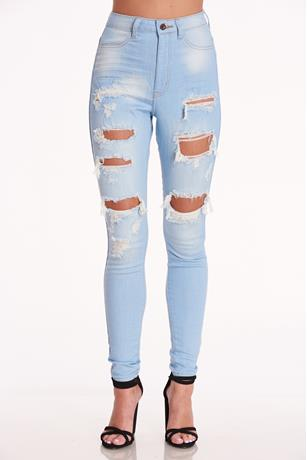 Distress High Rise Jeans