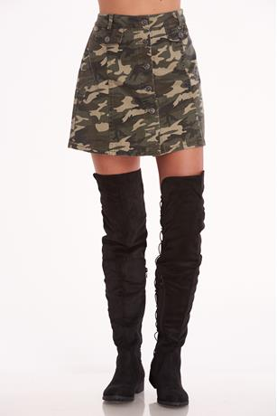 Button Front Camo Skirt