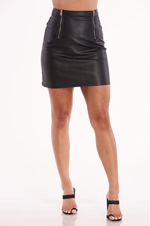 Dual Zipper Skirt BLACK