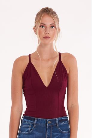 Ribbed V-Neck Bodysuit BURGANDY
