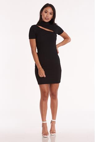 Ribbed Cutout Bodycon Dress BLACK