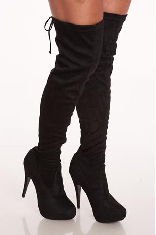 Faux Suede Stiletto Boots