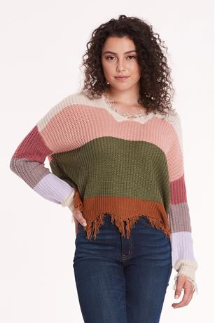 Colorblock Distress Sweater