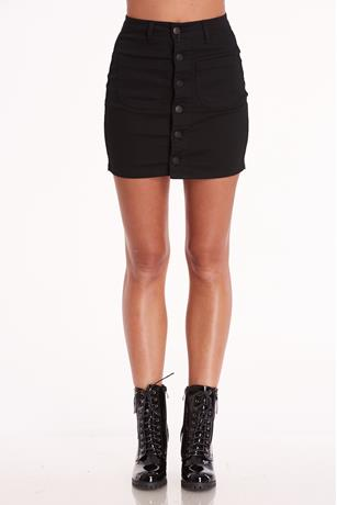 Button Down Mini Skirt BLACK