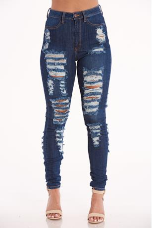 Aphrodite Distress Jeans DARK WASH