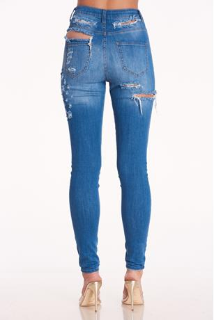 Aphrodite Ripped Back Jeans LIGHT WASH