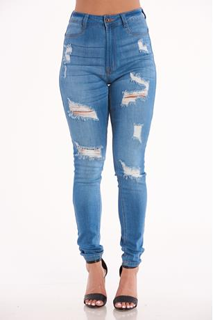 Aphrodite Ripped Skinny Jeans MED WASH