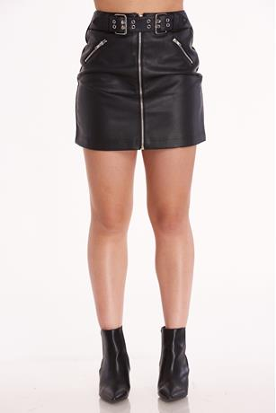 Belted Mini Skirt BLACK