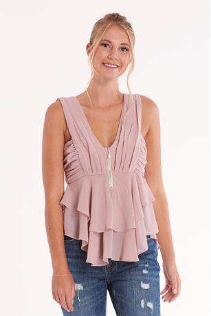 Solid Zippered Top BLUSH