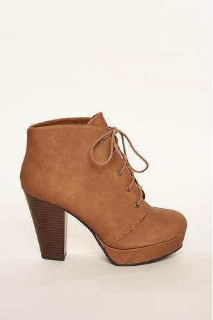 Faux Suede Platform Ankle Boots TAN