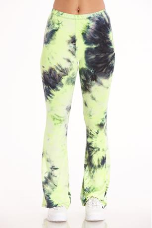 Tie Dye Flare Pants NEON YELLOW