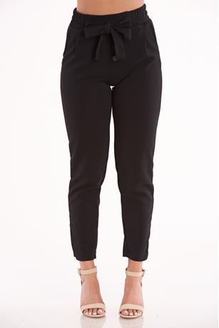 Black Self-Tie Pants BLACK