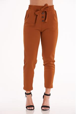 Mustard Self-Tie Pants MUSTARD