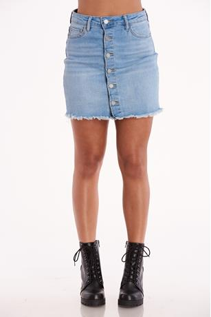 Denim Button Front Skirt LIGHT WASH