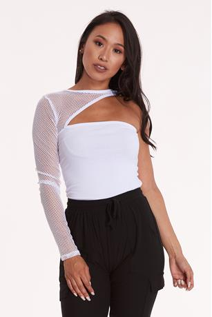 One Shoulder Fishnet Bodysuit WHITE