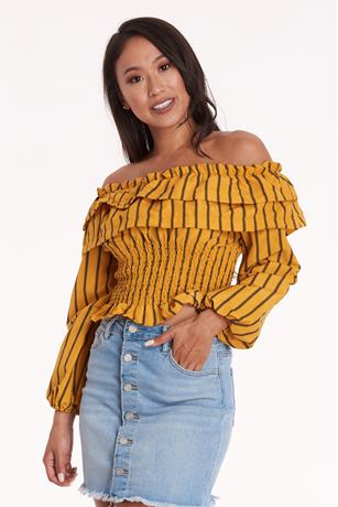 Striped Smocked Crop Top MUSTARD