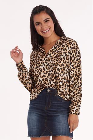 Animal Print Blouse BROWN