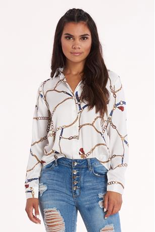 Chain Print Blouse WHITE