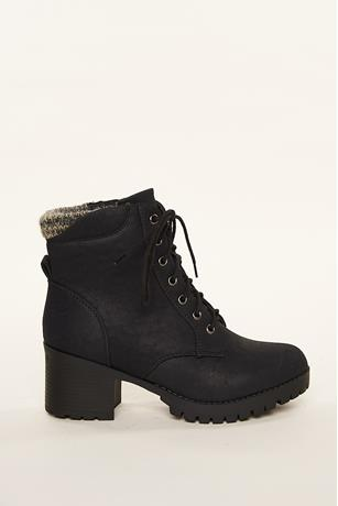 Knit Trim Combat Boots BLACK