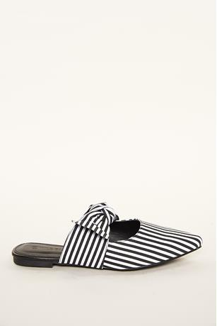 Striped Bow Mules BLKWHT