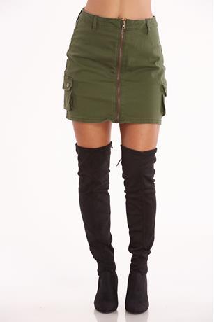 Zip Front Cargo Skirt