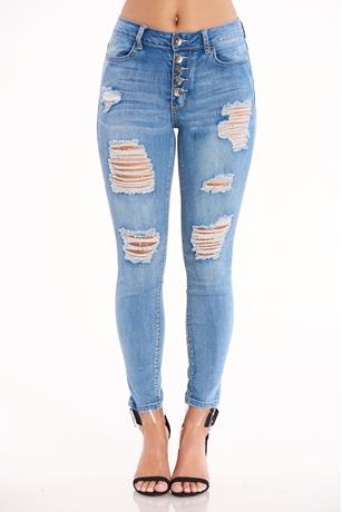 Five Button Up Skinny Jeans LIGHT WASH