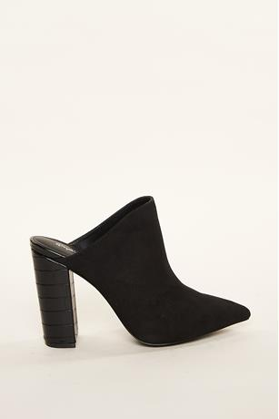 Contrast Pointy Toe Mules BLACK