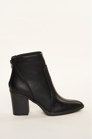 Faux Leather Calf Booties BLACK