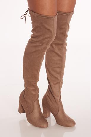 Faux Suede Block Heel Boots TAUPE