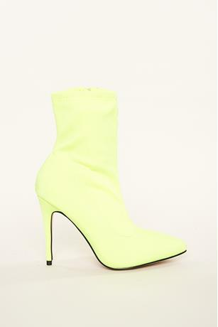 Neon Calf Sock Booties LIME GREEN