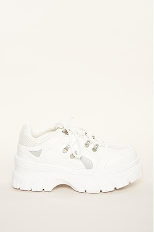 Mesh Panels Low Top Sneakers WHITE