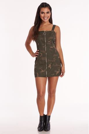 Camo Zip Front Dress