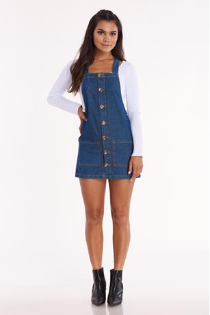 Denim Button Front Dress DARK WASH