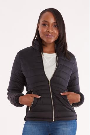 Contrast Puffer Jacket BLACK