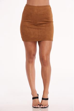 Faux Suede Mini Skirt COGNAC
