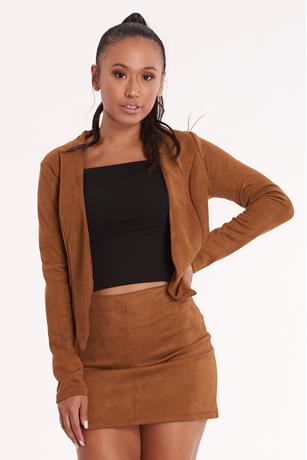 Faux Suede Crop Jacket