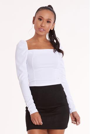 Square Neck Crop Top WHITE