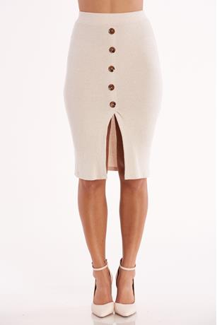 Ribbed Button Front Skirt CREAM