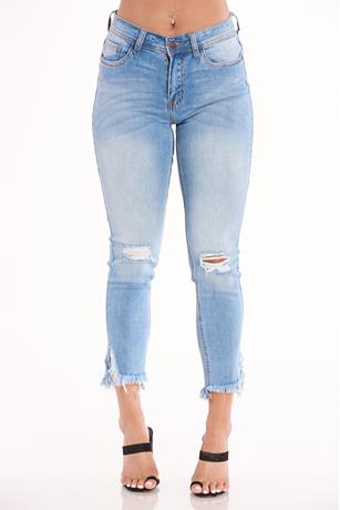 Nature Frayed Hem Skinny Jeans LIGHT WASH
