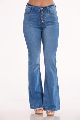 Celebrity Pink Button Front Jeans MED WASH