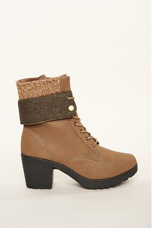 Knit Back Flap Combat Boots TAN